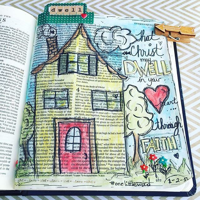 """This page makes me so HAPPY! ☺️ #Repost @awelldocumentedlife ・・・ Decided to journal my #olw for 2016 in my journaling bible.  DWELL:  1. to remain for a time 2 a: to live as a resident  b :  exist, lie 3 a :  to keep the attention directed Found several bible verses that directed me to my word for the year. This one is in Ephesians 3:16-19 """"that according to the riches of his glory he may grant you to be strengthened with power through his Spirit in your inner being, 17 so that Christ may…"""