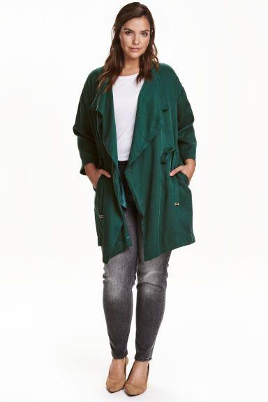 H&M+ Manteau en lyocell - Vert foncé - FEMME   H&M FR