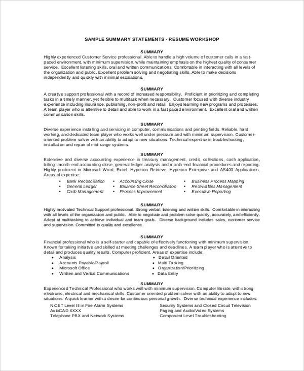 resume summary example samples pdf word examples customer service free sample