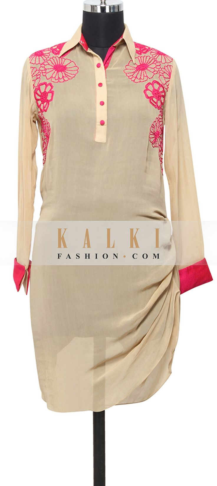 Buy Online from the link below. We ship worldwide (Free Shipping over US$100)  http://www.kalkifashion.com/beige-georgette-kurti-in-resham-only-on-kalki.html