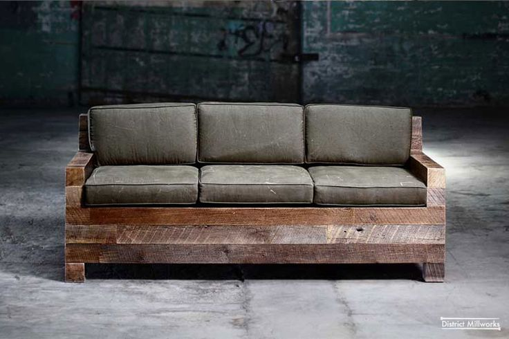 Couch reclaimed barn siding repurposed military canvas