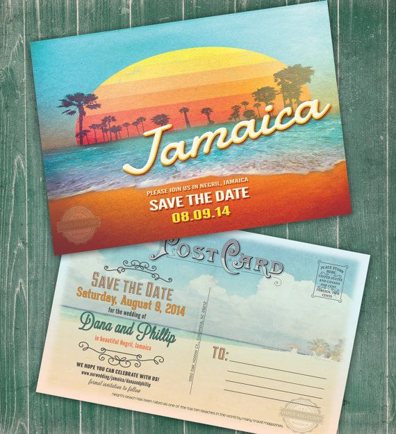 Save the Date Jamaica Destination Wedding Invitation Postcard Printable Digital | Can be customized as an invite rather than a save the date!