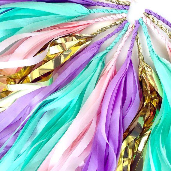 Unicorn Mane Tassel Garland - Pastel Tassel Garland - Birthday Party Decoration // Kid's Room Decor // Unicorn Decoration // Baby Shower