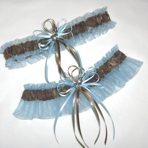 Deer Hunting Camouflage Wedding Garter Set on Blue ( Camo garter ) deer, duck, charm. $26.99, via Etsy...We are getting these for our wedding! :)