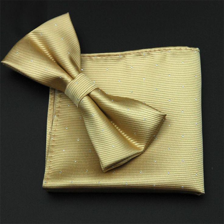CityRaider Marka Złoty Łuk Krawat Zestaw 2016 Nowy Solidna Mens Muszki Zestaw Poliester Krawat Hankerchief Kieszeni Kwadratowych Zestaw CT042