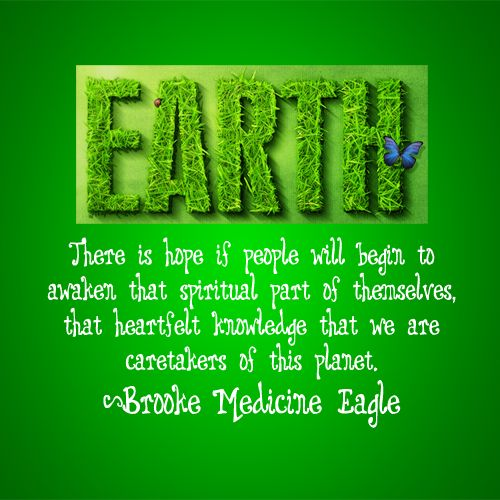 There is hope if people will begin to awaken the spirit part of themselves, that heartfelt knowledge that we are caretakers of this planet.----Brooke Medicine Eagle----