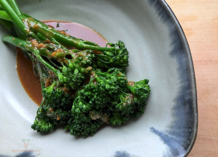 #Vegan and #glutenfree Karashi Miso Broccolini. Karashi is a Japanese mustard, simple, refined, elegant and can really bring a dish to life with its addition. The karashi miso sauce adds a delicious flavour to pretty much anything you match it with. Broccolini, karashi, glutenfree brown rice miso, tamari shoyu, brown rice syrup, mirin, apple cider vinegar. Visit our blog for the recipe!