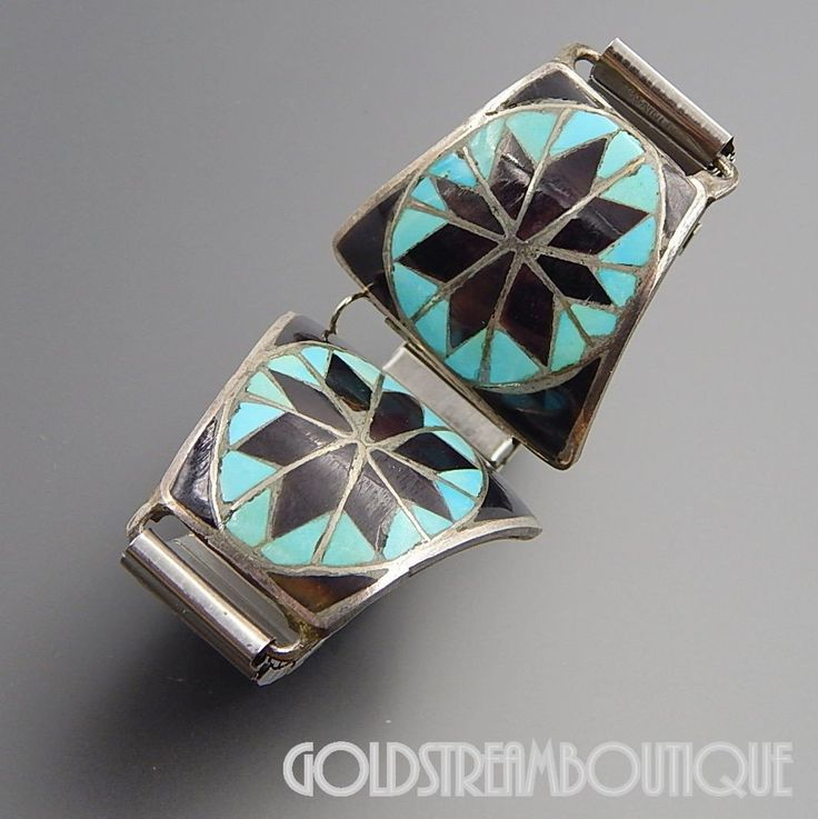 NATIVE AMERICAN VINTAGE NAVAJO STERLING SILVER TURQUOISE JET SNOWFLAKE INLAY WATCH BAND LINKS