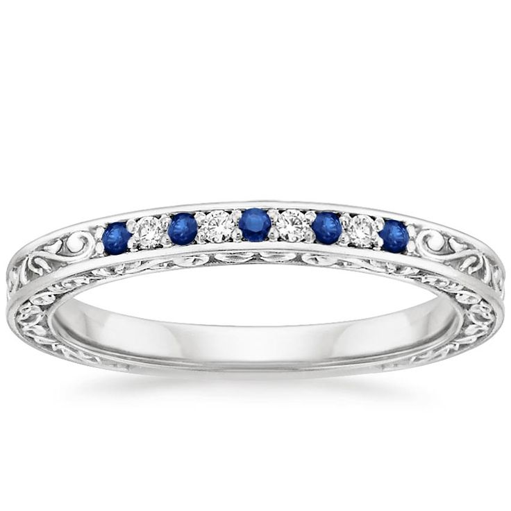 18K White Gold Delicate Antique Scroll Sapphire and Diamond Ring from Brilliant Earth