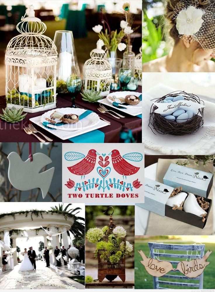 Decoración de boda inspriada en pareja de palomas blancas