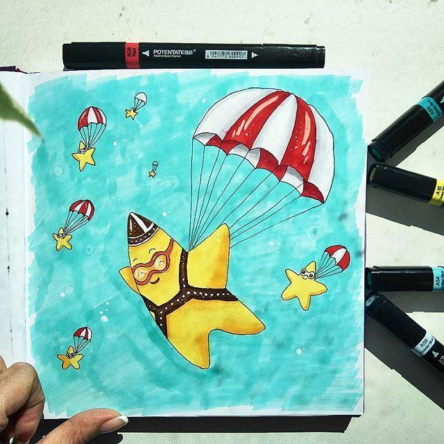 Are you an idiot? No,Sir, I'm a dreamer! #star #seastar #dream #tattoo #sea #parachute #sketch #markers