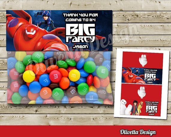 Big Hero 6 Favor Bag Toppers BIRTHDAY party Printable - 2 Models Included! Personalized - Digital File