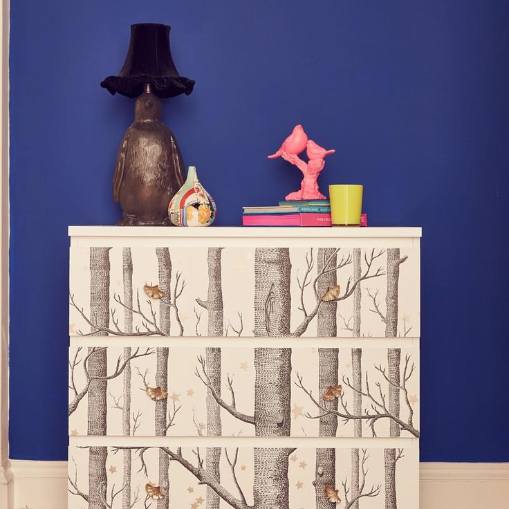 IKEA HACK: MALM chest of drawers transformed with wallpaper on the drawer fronts and cute handles