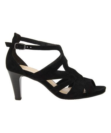 Another great find on #zulily! Black Sam Suede Cutout Sandal #zulilyfinds