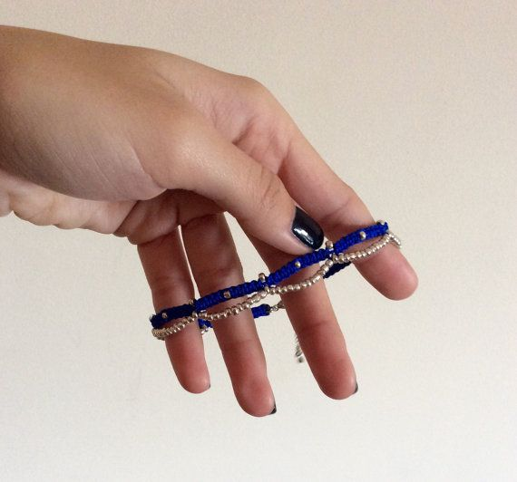 Macrame square knot anklet with beads