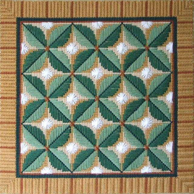 Leaf Quartet in Textured Stitches