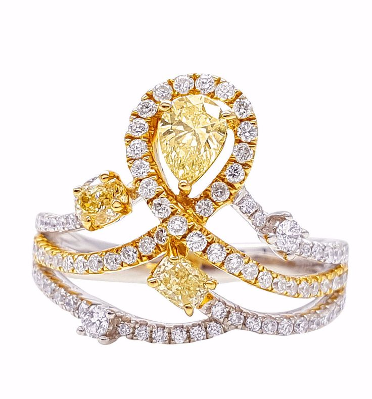 Antique Crown Yellow & White Diamond Ring 18K Gold