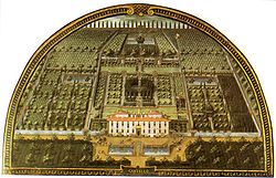 Lunette of Villa di Castello as it appeared in 1599, painted by Giusto Utens - The Villa di Castello, in the hills near Florence, Tuscany, central Italy, was the country residence of Cosimo I de' Medici, Grand Duke of Tuscany (1519-1574). The gardens, filled with fountains, statuary, & a grotto, became famous throughout Europe. The villa also housed some of the great art treasures of Florence, including Sandro Botticelli's Renaissance masterpieces The Birth of Venus & Primavera.