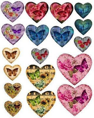 Free Collage Sheets by Art and imagesbykim: Hearts Assorted Digital Collage Sheet