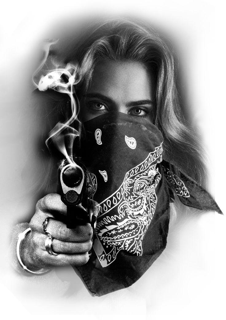 Gangster Girl with Bandana and Gun Tattoo design