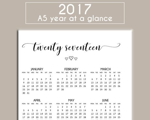 A5 2017 Printable Year At A Glance Calendar - Planner Insert For Filofax, Large Kikki K - Instant Download PDF