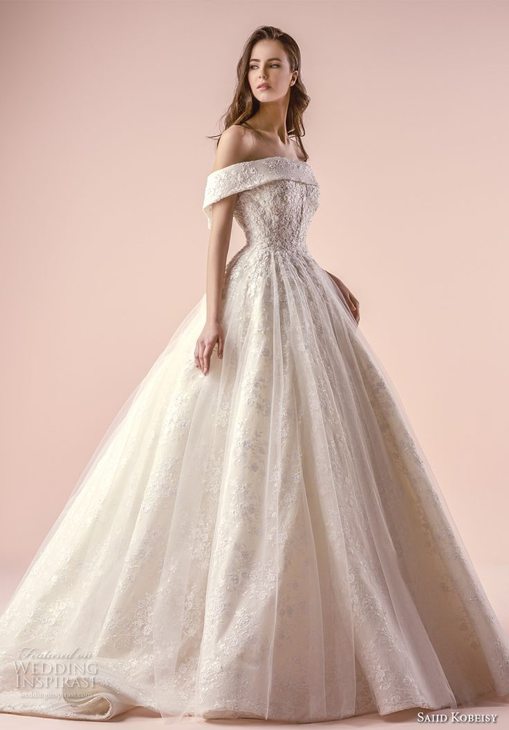 saiid kobeisy 2018 bridal off the shoulder straight across neckline heavily embellished bodice romantic princess ball gown wedding dress chapel train (3253) mv -- Saiid Kobeisy 2018 Wedding Dresses