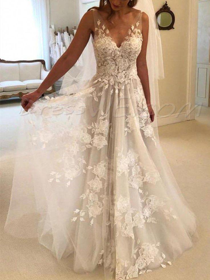 Buy Appliques Floor-Length Sleeveless V-Neck Hall Wedding Dress 2019 Online, Dresswe.Com offer high quality fashion,Pric…