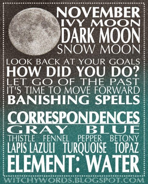 November: Dark Moon esbat correspondences goals and rituals infographic from Witchy Words.