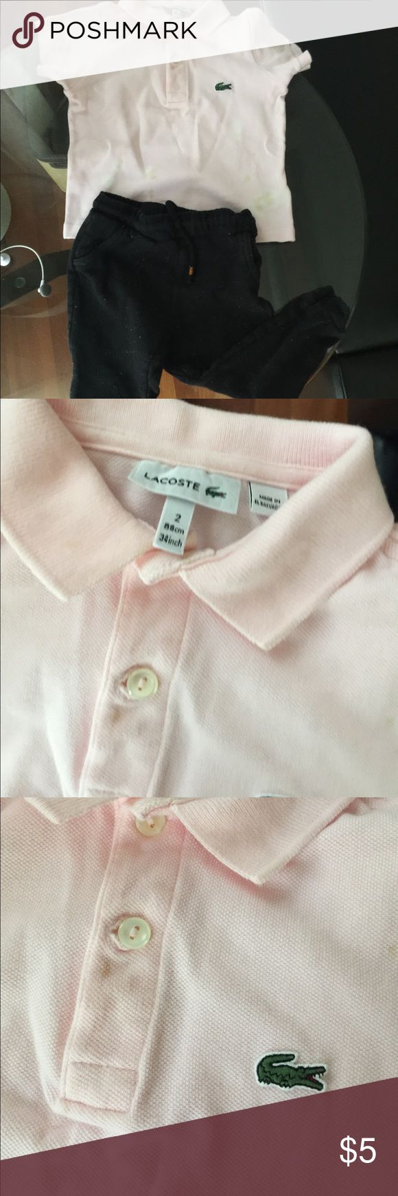 Moving sales!Toddler Lacoste polo shirt&Zara pants Kids Size 2 ,88cm 34 inch Lacoste polo shirt in light pink . Stains on the front. Zara black pants kids size 2/3years in good condition Lacoste Shirts & Tops Polos