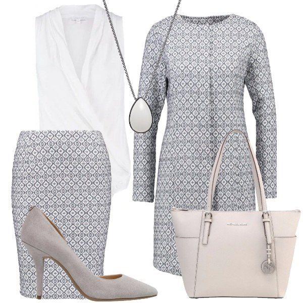 Questo outfit, perfetto per una giornata importante in ufficio, è composto da un coordinato formato da soprabito e gonna con fantasia a rombi, body bianco con scollo profondo, décolleté grigio chiaro, shopping bag in pelle e collana con pendente.