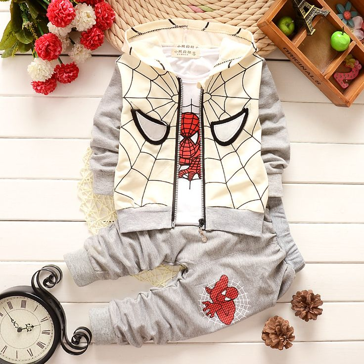Baby Boys Spring Autumn Spiderman Sports suit 3 pieces set Tracksuits Kids Clothing sets Casual clothes Coat Pant t shirt