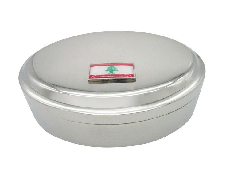 Thin Bordered Lebanon Flag Pendant Oval Trinket Jewelry Box