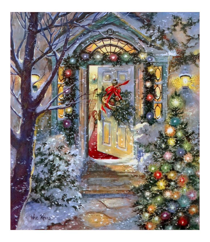 562 50s Beautiful House Front Door Vintage Christmas Card