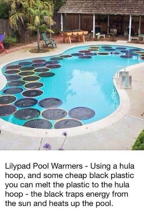 Easy cheap way to heat up the pool looks cool too deck for Cheapest way to build a pool
