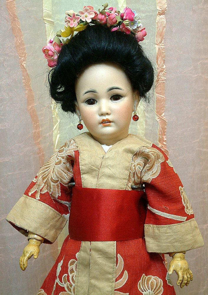 "Super Rare 15"" SIMON & HALBIG 1329 Oriental Lady All Antique And Fabulous!      from Ruby Lane"