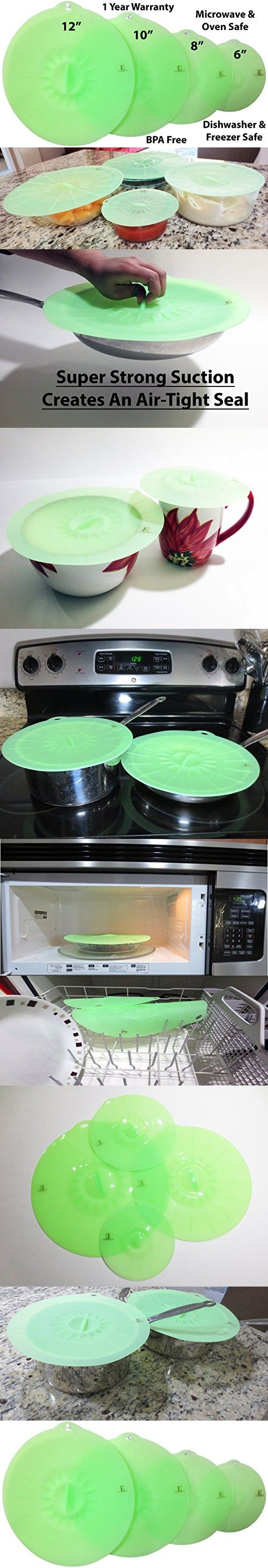 Silicone Suction Lids, Set of 4, Green, Super Durable, FDA Approved, 1 Year Warranty - Cover Pots, Pans, Bowls, Cups - Keep Food Fresh - Freezer, Microwave, And Dishwasher Safe - BPA Free - Multi Size