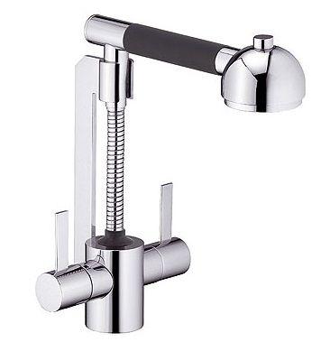 Двухвентильный смеситель для кухни Kludi Zip, с выдв. душем, h 211 мм, вынос 176 мм, хром 42100Z129