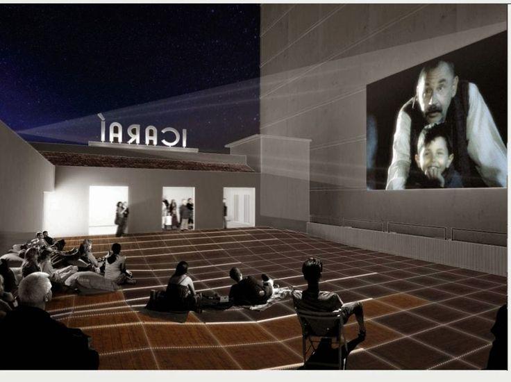 """Cadernos de Reportagem: Órfã de cinemaA inovação também se encontra no terceiro andar: o telhado inutilizado do Cine Icaraí se transformaria num cinema a céu aberto com um terraço amplo e uma parede para projeção de produções audiovisuais. """""""
