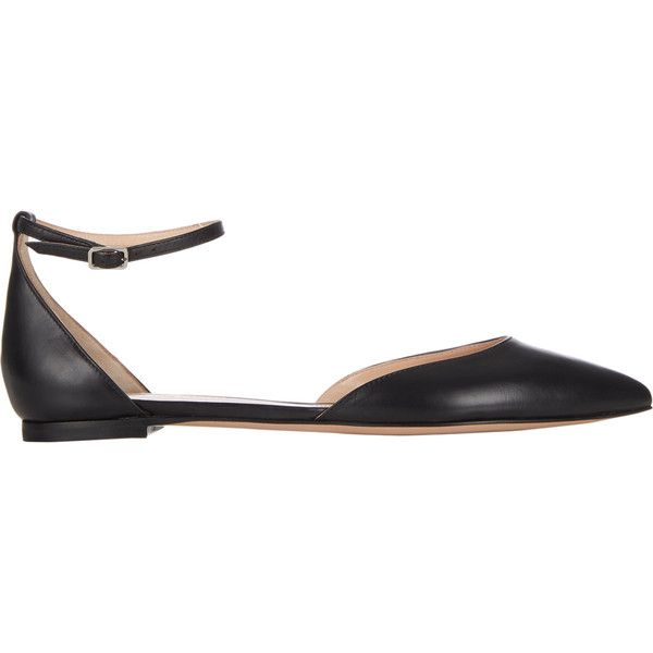 Gianvito Rossi Women's Ankle-strap D'Orsay Flats ($249) ❤ liked on Polyvore featuring shoes, flats, black, pointed toe flats, black leather shoes, black pointy toe flats, flat shoes and black leather flats