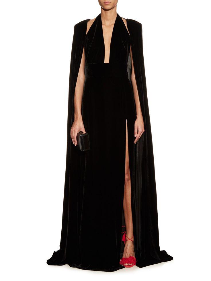 Erisi optional cape velvet gown    La Mania   MATCHESFASHION.COM