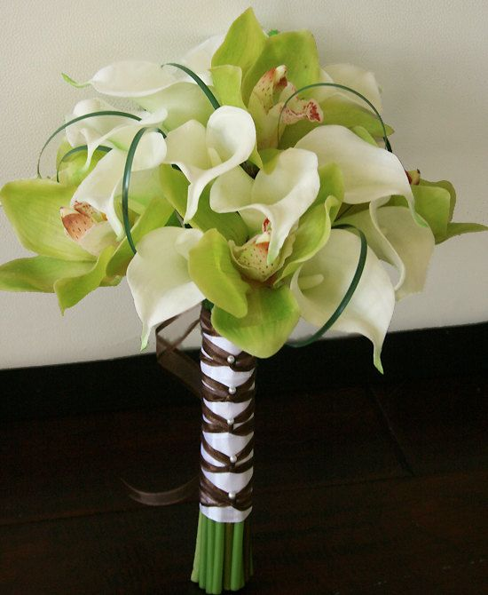 Silk Wedding Bouquet of Orchids and Callas- Off White Natural Touch White Calla Lilies and Green Orchids