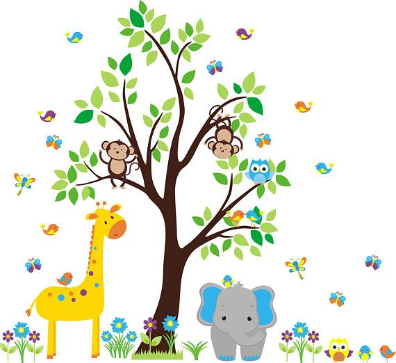 Best Forest And Woodlands Nursery Wall Decals Images On Pinterest - Kids wall decals jungle