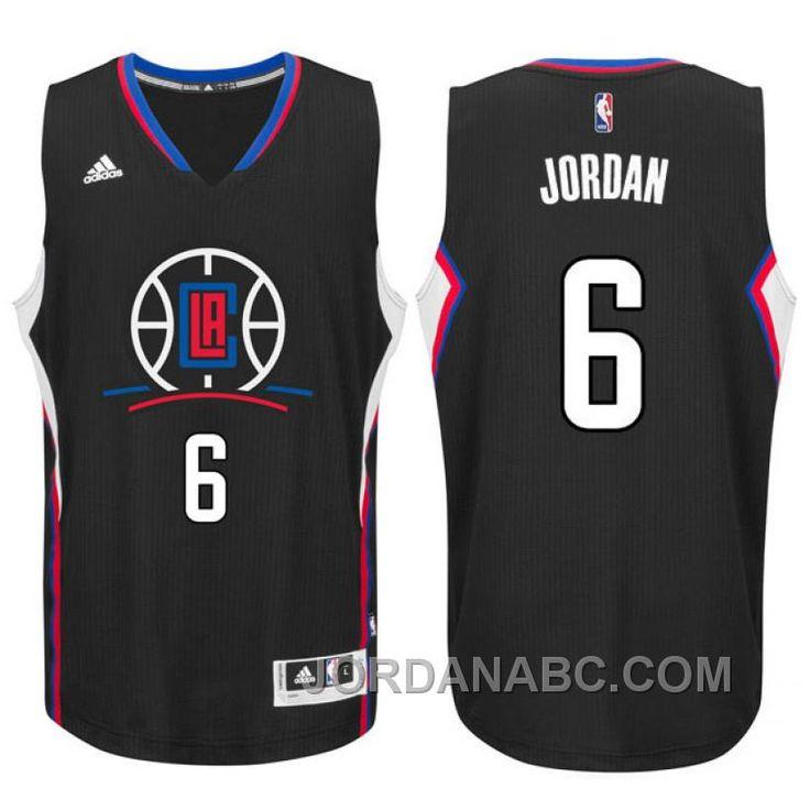 9f80e597e 2015-16 New Season Logo DeAndre Jordan Los Angeles Clippers  6 Black  Swingman Jersey