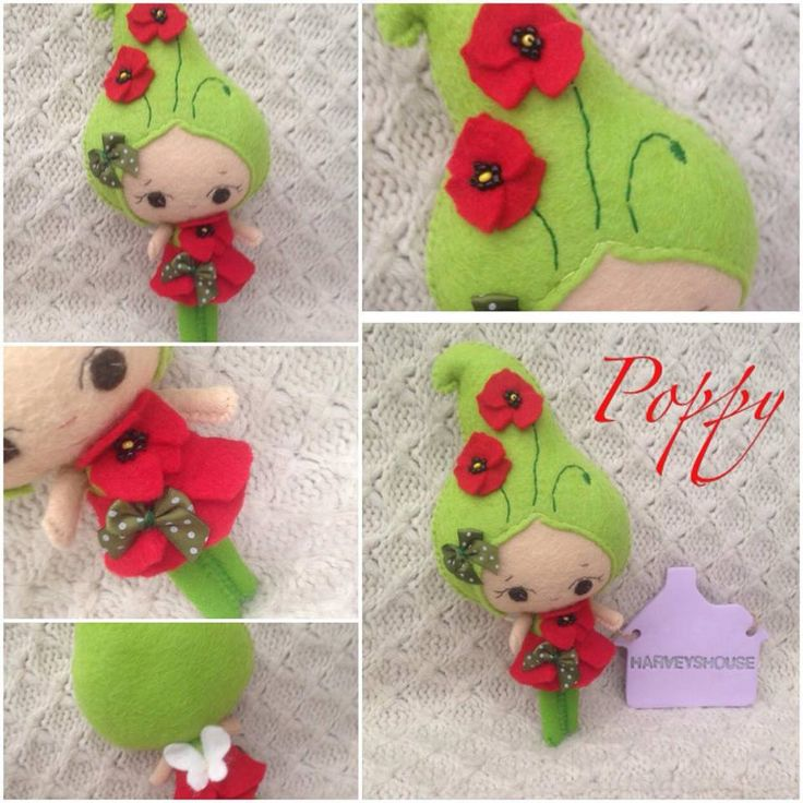 Handmade Poppy Fairy Collectable Felt Doll - Lil Flower Fairy Poppy Handmade - Felt Collectable by HarveyshouseCrafts on Etsy