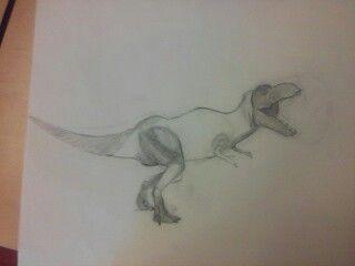 Ik heb deze les de t-rex compleet gemaakt en de kop wat kleiner gemaakt. Ik vond de kop verkleinen moeilijk en de rest was wel simpel en alles ging goed in deze les. De volgende les ga ik hem afmaken en verder met de 2 de dino: de megalosaurus. Ik heb alleen maar de ruimte om de kop van hem te doen en een deel van de armen. Daardoor kan ik erg moeilijk een plaatje daarbij zoeken, maar ik ga het proberen. Ik moet nog veel doen met de arcering en ik ben ook benieuwd of ik dat wel goed ga doen.