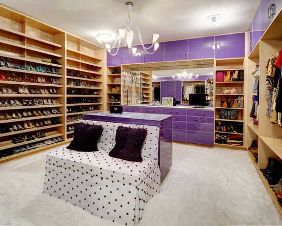 Appealing Fantatsic Purple Wooden Accents Luxury Walk In Closet