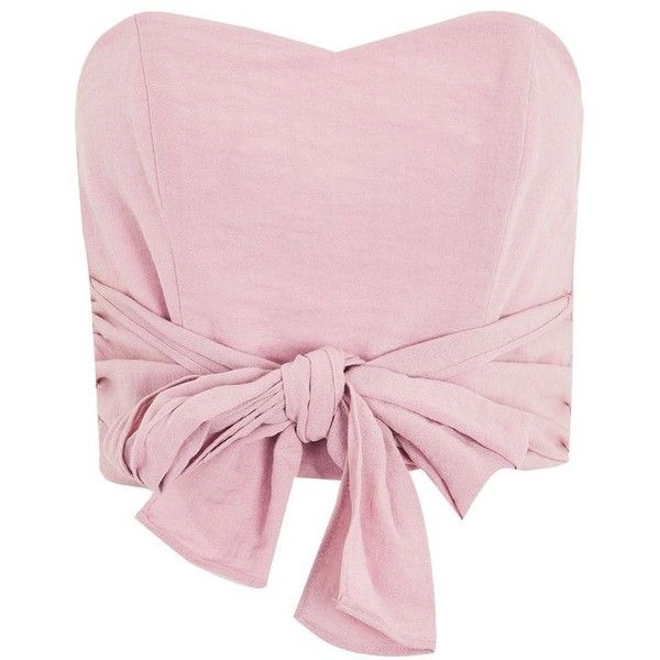 Topshop Tie Bandeau Top ($43) ❤ liked on Polyvore featuring tops, pink, pink bandeau top, bandeau bikini top, sweetheart neck top, viscose tops and sweetheart bandeau top