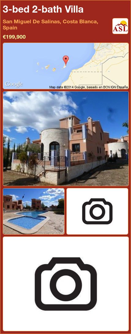 3-bed 2-bath Villa in San Miguel De Salinas, Costa Blanca, Spain ►€199,900 #PropertyForSaleInSpain