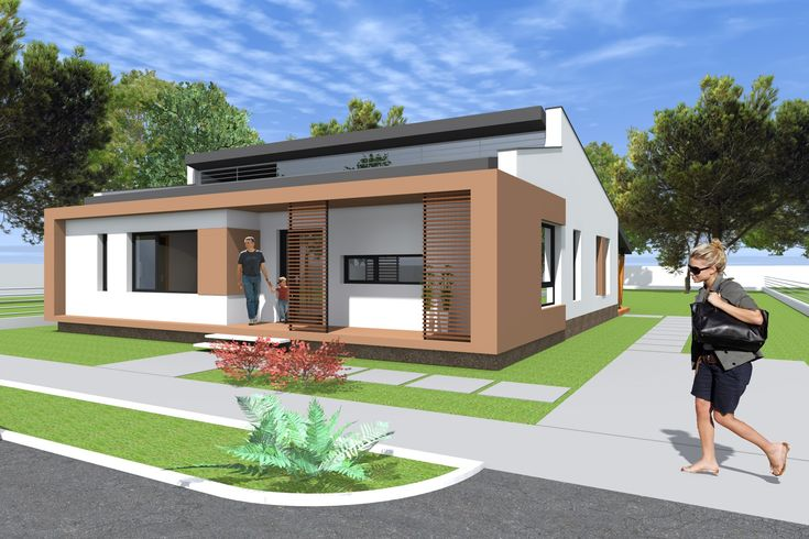Small modern bungalow house design. 133 square meters (1431 sq feet).Arc...