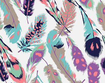 KNIT :  SALE Girl Charlie Feathers ; BoHo fabric, Tribal